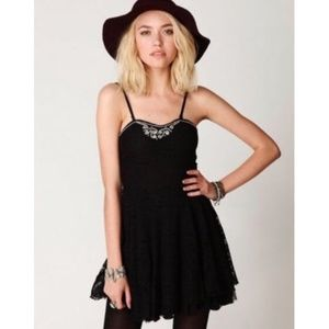 Free People | Strapless Beaded Lace Overlay Dress